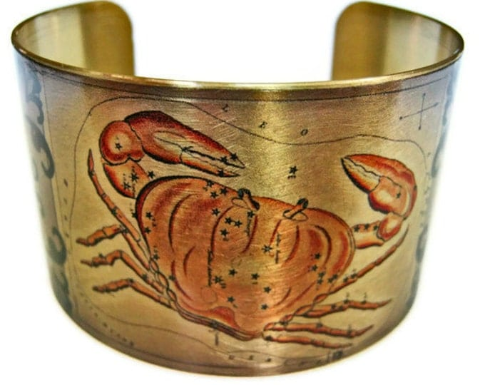Cancer Zodiac Astrology Hoscope cuff bracelet brass   Free Shipping to USA Gifts for her