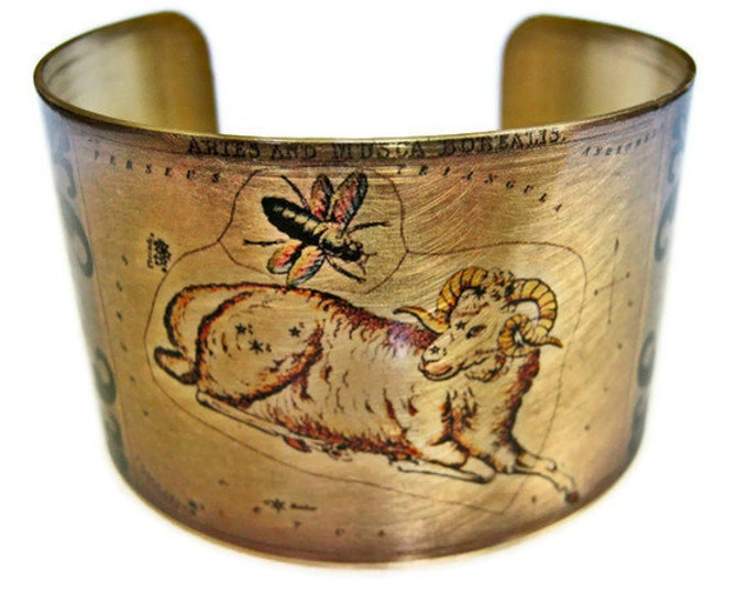 Aries Zodiac Astrology Hoscope cuff bracelet brass Gifts for her