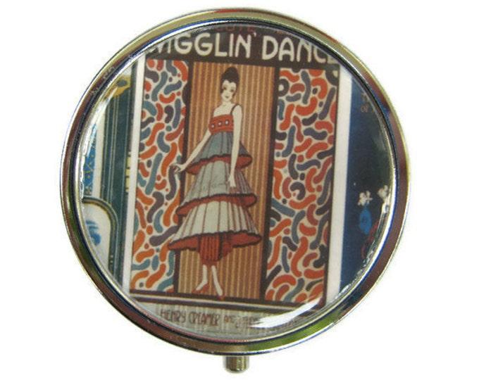 Wigglin' Dance Pill Box Stash Case Silver flapper