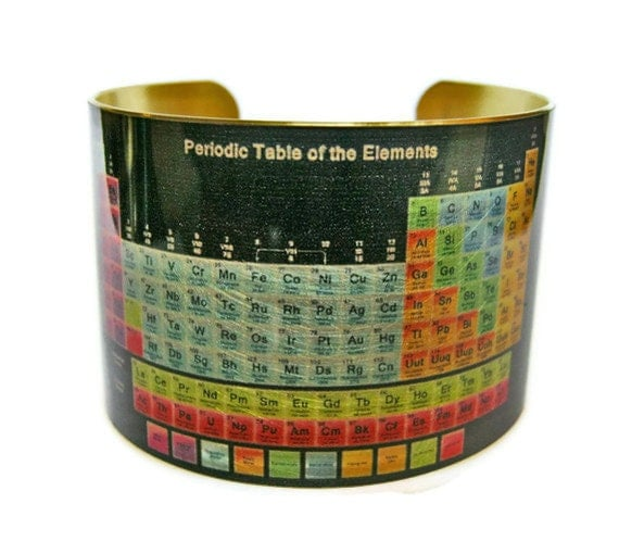 Periodic Table Of Elements Cuff Bracelet Brass Or Aluminum