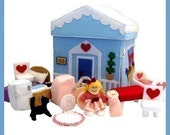 Home Sweet Home - PDF Doll Pattern (Dollhouse, Dolls, Kitchen, Table, Chairs, Bed, Pillow, Cradle, Rug, Stroller, Cat)