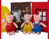 The Three Little Pigs - PDF Doll Pattern (Pigs, Wolf, Houses)