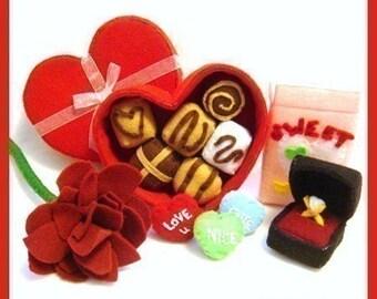 Be MY VALENTINE - PDF Felt Food Pattern (Chocolate Box, Chocolates, Candy Hearts, Rose, Ring Box, Ring)