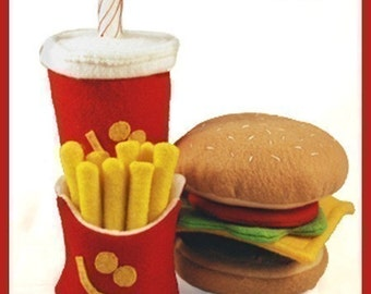 A Very Happy Meal - PDF Felt Food Pattern (Hamburger, Milk Shake, Fries)