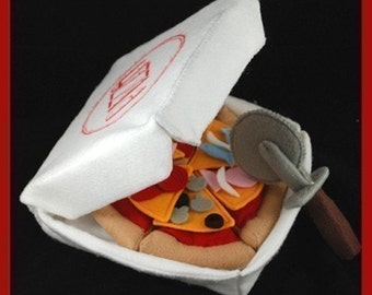 PIZZA PARTY - PDF Felt Food Pattern (Pizza, Slicer, Toppings, Box)