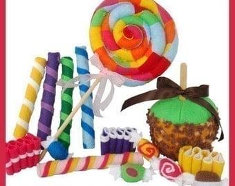 CANDY SHOPPE - PDF Felt Food Pattern (Lollipop, Ribbon Candy, Taffy, Candy Sticks, Candy Apple)
