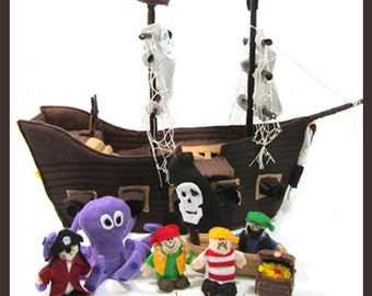 New PIRATE SHIP - PDF Ship & Crew Pattern (Ship, Lifeboat, Octopus, Captain, Crew, Treasure Chest)