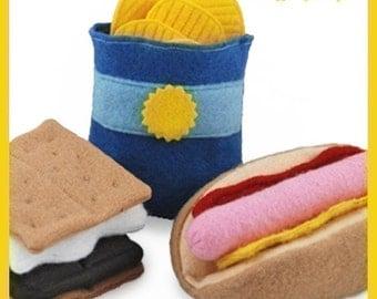 CAMPING SET - PDF Felt Food Pattern (Hot Dog, Bun, Chips, S'more)