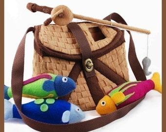 GONE FISHIN' - PDF Pattern (Fishing Basket, Fish, Fishing Pole)