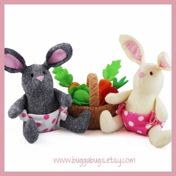 BABY BUNNIES - PDF Pattern (Easter Bunny, Basket, Vegetables)