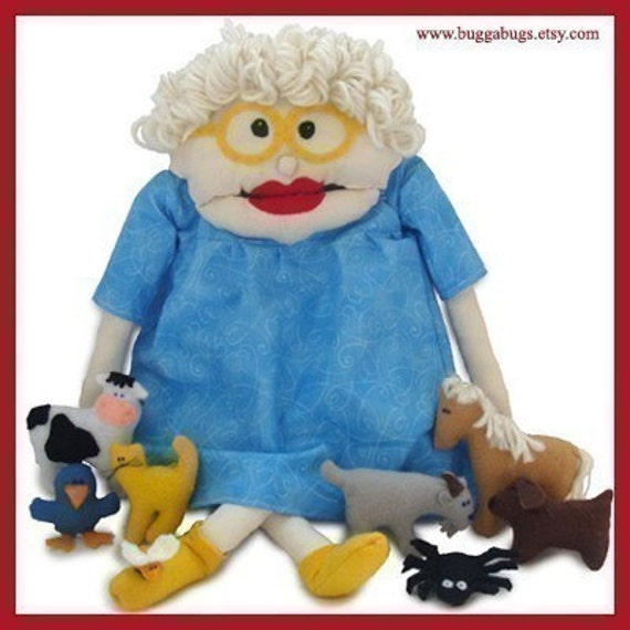 I KNOW AN OLD WOMAN - Doll, Fly, Spider, Bird, Cat, Dog, Goat, Cow, Horse (Patterns and Instructions)