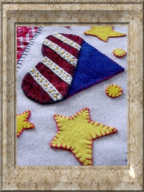 Primitive Americana 4th of July Flag Folkart Penny Rug Style Wool Felt Star Heart Candle Wrap  CAPS Team  CAST Team  FT Team