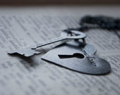 One Love: Key to my Heart (made to order) - customizable couple's necklace and keychain/pendant