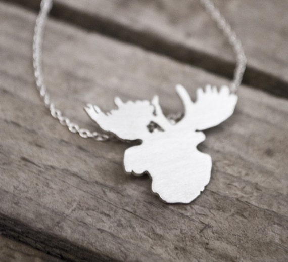 woodland moose head silhouette - necklace