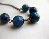 Wire Wrapped Teal Agate Stone and Antiqued Copper Chain Necklace