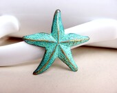 Mint Green Patina Starfish Charm Pendant