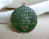 Solid Brass French Charm Pendant, Green Patina