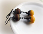 Lampwork Glass Earrings, Sterling Silver, Brown and Yellow