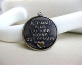 Brass French Pendant Charm, Black