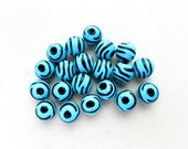 30 pcs Zebra Beads, Blue and Black, 11mm, Basketball Wives