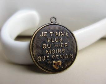 Antiqued Dark Brown French Round Charm Brass