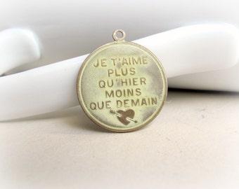 Brass French Pendant, Cream Patina