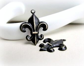 Fleur De Lis Brass Charms Black Patina
