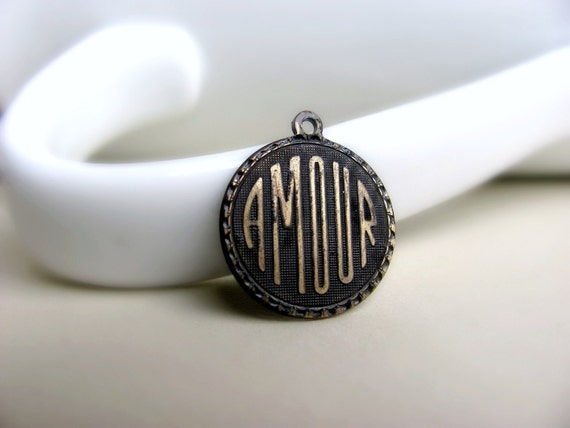 French Amour Charm Pendant, Brown Patina