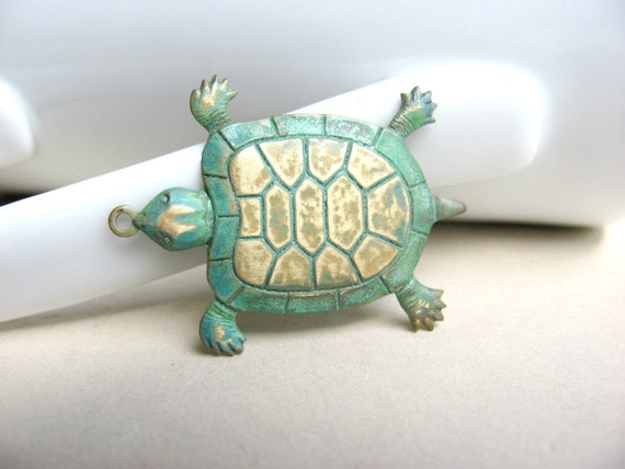 RESERVED for Jenn, Patina Turtle Pendants Charms, Verdigris Patina
