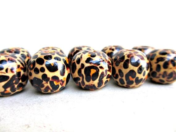 20 pcs Wooden Leopard Beads, Leopard Beads, Basketball Wives Earrings, 16mm