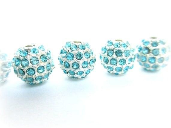 10mm Aquamarine Pave Bead, Crystal Rhinestone Beads, Basketball Wives