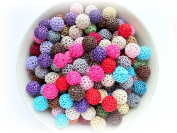 Crochet Beads, Mixed Bag of Beads,Various Colors, 20 pcs
