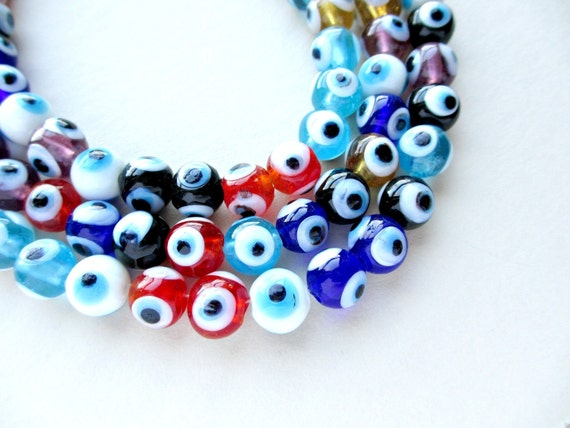 RESERVED for Greet 40 Evil Eye Glass Beads 10mm and Owl Charms