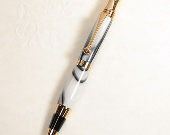 Hand made pen: RETRO Style acrylic Pen in ONYX acrylic with 24 kt GOLD trim (ball point)