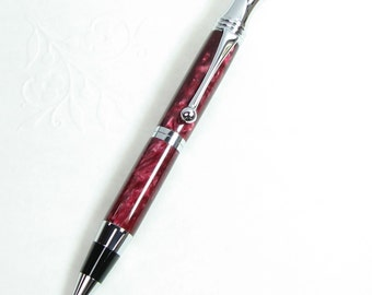 Handmade Acrylic Pen in RETRO Style - RED GRANITE acrylic with Chrome trim