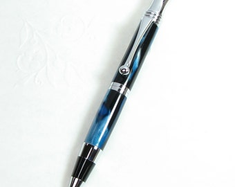 HANDMADE Ball-Point Pen in  RETRO Style - Blue Agate acrylic with Chrome trim