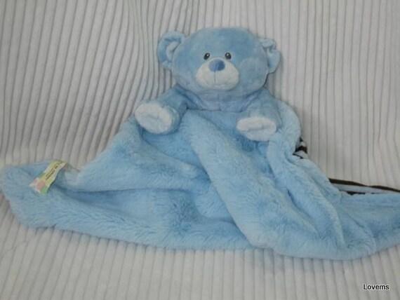 Security Blanket Blue Teddy Bear Lovems