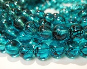 CLOSING SHOP - 25 deep sky blue round glass beads - 8mm B493