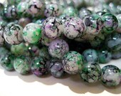 CLOSING SHOP - 50  round glass turquoise blue green black beads - 8mm B492