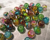 CLOSING SHOP - 25 mixed color round glass beads - 8mm B486
