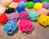 CLOSING SHOP - 100 -Last Ones -100 resin flower cabochons bright mixed color - 13mm B116