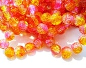 CLOSING SHOP - 30 round crackle glass yellow and fuschia beads - 8mm B7