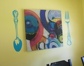 Kitchen Wall Decal - Spoon and Fork Decals - Fork Wall Decal - Spoon Vinyl Decal - Kitchen Decals - Kitchen Decor - Silverware Decals