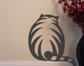 Cat vinyl decal for your wall, window, or diy project, pet owner gifts, striped fat chubby kitten, animal decor, pet area decals