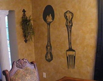Big Fork and Spoon Vinyl Wall Decal Decor Household Words Dining room decorations, Kitchen, restaurant art
