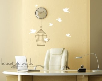 Birdcage Vinyl wall decal graphic sticker set with Cute flying Birds cottage chic home decor Feminine spring