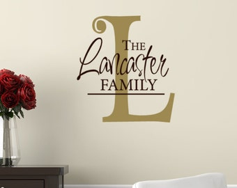 Last name Vinyl Wall Decal - Custom Name Wall Decal - Family Name Gift - Wedding Decor  - Family Wall Decal - Living Room Decals - gift