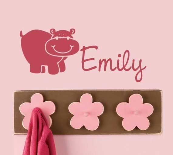 Hippo Monogram vinyl decal sticker Cute Kids room Nursery decor hippopotamas