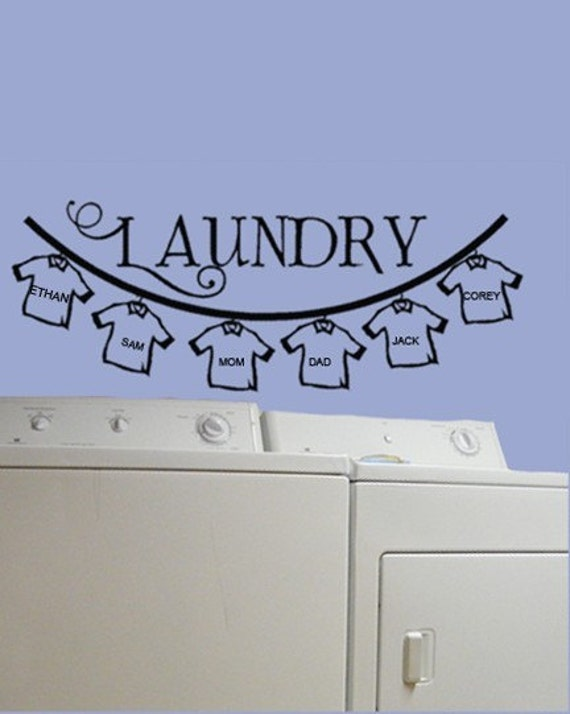 LAUNDRY Vinyl Wall Decal with T Shirts on line Custom with Family Names