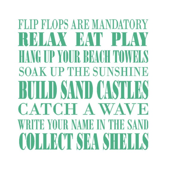 Beach Rules Vinyl Decal Beach Wall Decal Beach Decor Beach - Beach vinyl decals